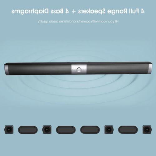 Bluetooth TV Soundbar 40W Remote Control w/ Subwoofer Wirele