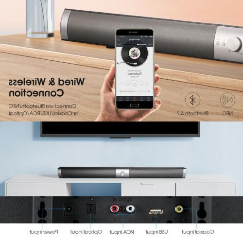 S6 Bluetooth TV Soundbar 40W Remote Control w/ Subwoofer Wir