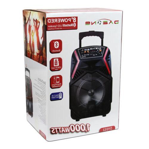 "8"" Bluetooth Speaker Portable for w/ LED Stereo"