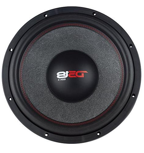 DS18 Car Audio Speaker in. Cone, Red Dual Voice Coil Ohm 1000W MAX Power and Foam for Vehicle System