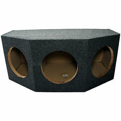 "Car Audio Triple 10"" Sealed Subwoofer Rear Angle 3 Sub Box S"