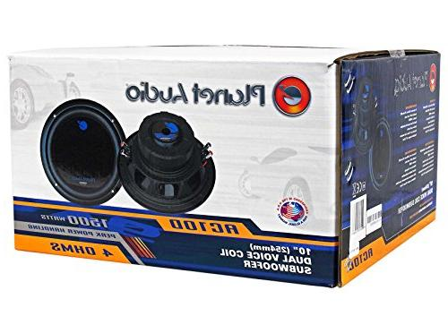 """Package: Planet 10"""" Dual 4-OHM Car Subwoofers Rockville RDV10 1.1 Sub + Enclosure Kit + + Terminals + Planet Anarchy AC3000.1D Class D Mono Rockville RWK41 Gauge 2 Channel Wire Kit With"""