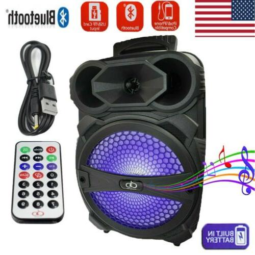 "8"" Party Bluetooth Speaker System Big Led Portable Stereo Li"