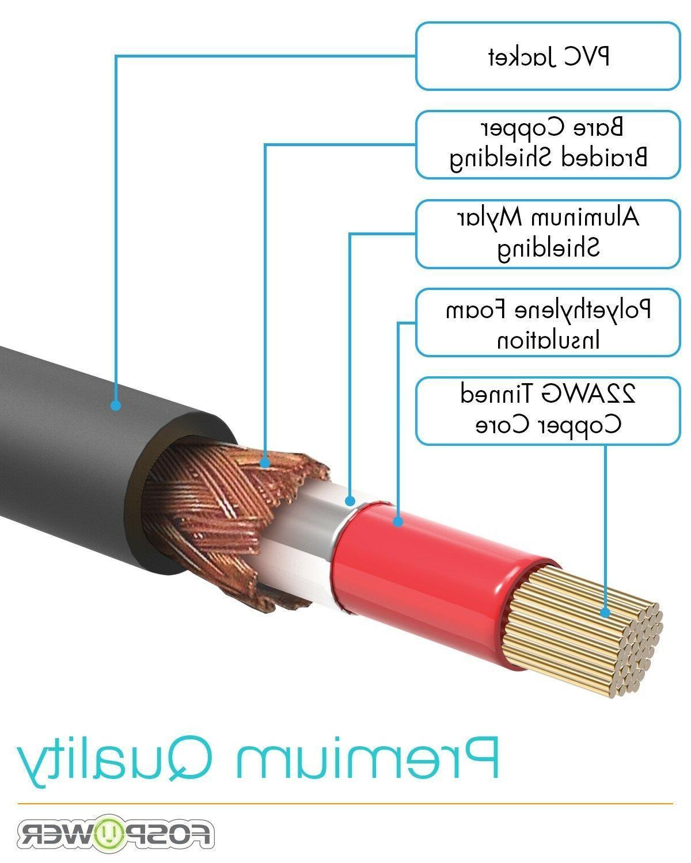 FosPower RCA Male Layer Gold Audio Cable Cord Plug