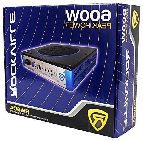 "Rockville RW8CA 8/"" 600 Watt Under-Seat Slim Amplified Car Subwoofer Wire Kit"