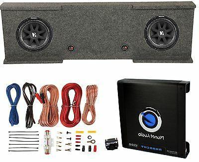 "Kicker 12"" 600W Subwoofers  + GMC Dual Sub Box + Car Amplifi"