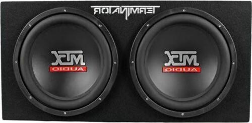 """MTX Terminator 12"""" Subwoofers+Enclosure+Amp Capacitor"""