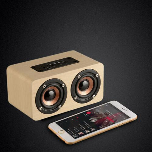 Wooden Wireless Bluetooth HIFI Stereo Super Bass Dual Speakers Subwoofer