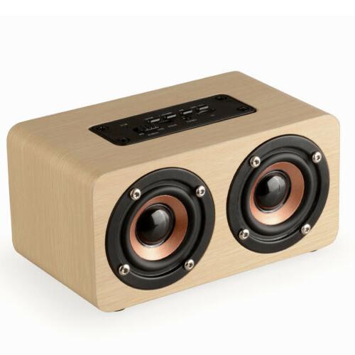 Wooden Wireless Bluetooth Speaker HIFI Stereo Bass Dual Speakers Subwoofer
