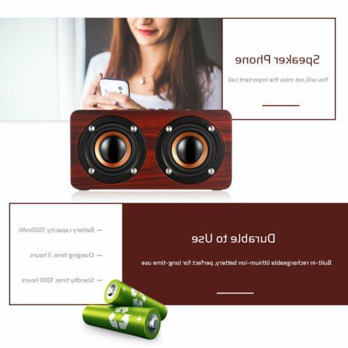 Wooden Wireless Speaker HIFI Stereo Bass Dual Speakers