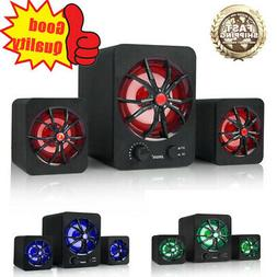 LED USB Wired Computer Speakers Stereo Bass Subwoofer For PC