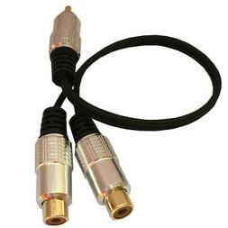 Audio Cable Right Angle L RCA to 2 RCA  Splitter Amp Speaker Subwoofer Y Cable