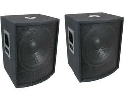 """NEW  18"""" SUBWOOFER Speakers PAIR.Woofer Sub w/ Box.DJ.PA.BAS"""