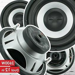 Pair of Soundxtreme 12 Inch 2600 Watt Car Audio Subwoofer wi