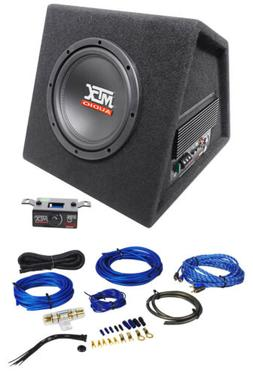 """MTX RTP8A 8/"""" 120w RMS Powered Subwoofer In Vented Sub Box Enclosure+Wire Kit"""