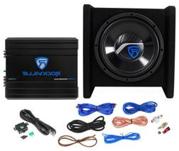 "Rockville RV10.1B 500w 10"" Loaded Car Subwoofer Enclosure+Mo"