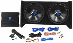 "Rockville RV12.2B 1200w Dual 12"" Car Subwoofer Enclosure+Mon"