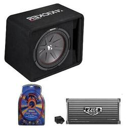 Kicker 12 Inch 1000W Subwoofer Box + 2000W Mono Amplifier, R