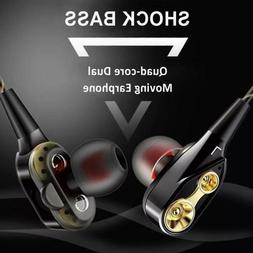 Subwoofer Headphones Wired In-ear Stereo Earbuds Quad-core D