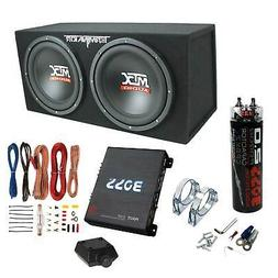 "MTX TNE212D 12"" 1200W Dual Loaded Subwoofer Box + 1100W Ampl"