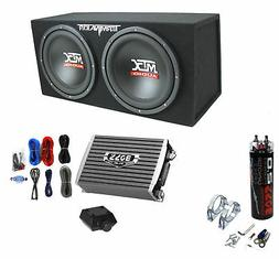 "MTX TNE212D 12"" 1200W Dual Loaded Subwoofer Box + 1500W Ampl"