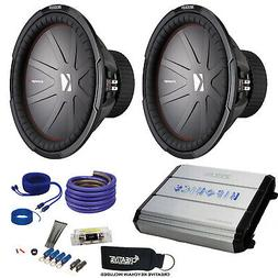 """Two Kicker 43CWR154 15"""" CompR Subwoofers & Hifonics ZXX-12"""