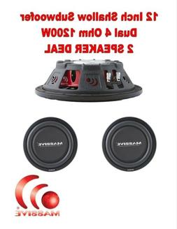 Massive Audio UFO12, 12 Inch Shallow Subwoofer - High Powere