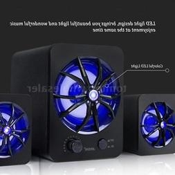 USB Wired Colorful LED Computer Speakers Stereo Super Bass M