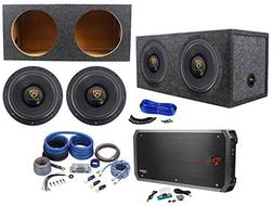 "Rockville W10K9D4 10"" 6400w Subwoofers+Sealed Sub Box+Mono"