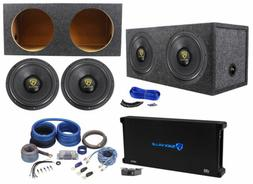 "Rockville W12K9D2 12"" 8000w Subwoofers+Sealed Sub Box+Mono"