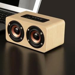 Wooden Wireless Bluetooth Speaker HIFI Stereo Super Bass Dua